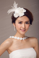 Wholesale Top Quality Fashion White Flower And Feather Wedding Bridal Tiaras Jewelry Hair Ornaments Hair Accessories DL1311302