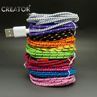 3length For Pick:3ft,6ft,10ft Iphone samsuang  High quality Colorful 1m 2m 3m 3ft 6ft 10ft USB data sync charger cable Fabric Knitted cable For Samsung galaxy S4 S3