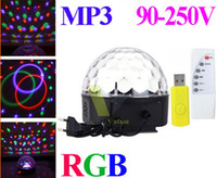 Wholesale SF Free DHL New RGB MP3 Magic Crystal Ball LED Music stage light with USB Disk Remote Control V For Home Party disco DJ party