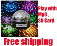 Wholesale SF Free DHL New style RGB MP3 Magic Crystal Ball LED Music stage light with USB Disk Remote Control V For Home Party disco DJ party