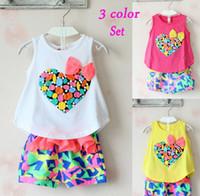 Girl Summer Sleeveless New Cute Kids Clothes Girls Colorful Peach Bowknot Tank Top Tshirt + Chiffon Shorts Outfit Children Child Heart Bow Tee Pants 2pcs Set C1872