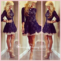Wholesale Cheap Homecoming Cocktail Dresses With Crew Neck Sheer Long Sleeve Lace Pleats Zipper Back A Line Short Mini Skirt Custom Made Dresses