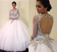 Wholesale BM Exquisite V Neck Sheer Long Sleeves Beaded Crystal Applique Sexy Keyhole Back Star Magic Ball Gown Wedding Dresses Fast Shipping