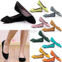 Wholesale Womens Ladies Casual Slip Suede Leather Ballerina Slippers Ballet Shoes Flats ex17