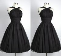 Wholesale 2014 Black Graduation Dresses Under Vintage Party Dress A Line Halter Chiffon Pleated Short Cocktail Dresses For Graduations