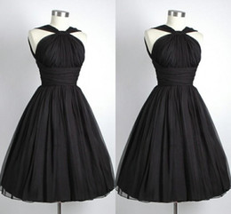 2019 Black Graduation Dresses Vintage Party Dress A-Line Halter Chiffon Pleated Short Cocktail Dresses For Graduations