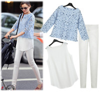 Women Short Sleeve S,M,L,XL European 2014 Female Summer Clothing New Style Pencil Pants Set Three Pieces Set Women Trousers