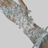 Wholesale DN Retro White Crystal Bridal Accessories Gloves Applique Rhinestones Fingerless Hot Sale In Stock Wedding Pageant Gloves Girls Party Gloves