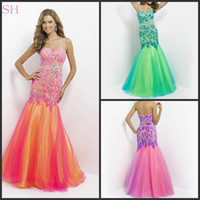 Reference Images Sweetheart Tulle Colorful Mermaid Sweetheart Prom Dresses Beading Rhinestones Tulle Peacock Floor Length Blush 9722 Evening Gowns Pageant Dresses Luxurious