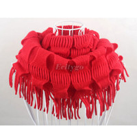 knit circle scarf - 10pcs New Women Winter Warm Knit Fringe Tassel Neck Wrap Circle Snood Scarf Shawl fx233