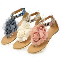 Wholesale summer sandals sweet flower metal beaded wristband comfortable flat flip flop women s shoes plus size WS001