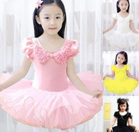 2-4T   2014 Children Girls Petals Ruffle Bow Collar Short Sleeve Pompon Dancewear Princess Pageant Ballerina Exquisite Dresses China Stock B3391