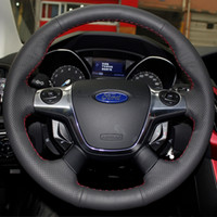 Wholesale Xuji Steering Wheel Cover for Ford Focus KUGA Transit Car Special Hand stitched Black Genuine Leather Covers