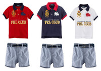 Wholesale 2014 Newest baby clothing suit Lapel short sleeved T shirt baby boy Shorts boys leisure suits colors