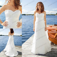 Sheath/Column Reference Images Sweetheart 2014 Summer Fall Cheap Lace Column Beach Grecian Cruise Wedding Dresses Chic Sash Sweep Train Backless Custom Made Affordable Bridal Gowns
