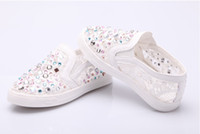 Wholesale 2014 Spring Summer Girls princess Shoes Children wire side Stick a drill flat base Single Shoes Kids Casual Shoe size pair TX265