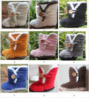 Crochet baby snow booties first walker shoes arc opening flo...
