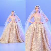 Wholesale Elie Saab New Hot Sheer Crew Neck Sleeveless Long Bridal Dress Organza with Applique Beads A line Chapel Train Wedding Dresses Gowns