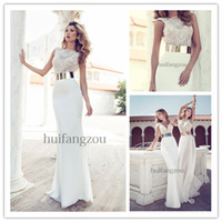 A-Line Reference Images Jewel 2014 Julie Vino White Ivory A-Line Beach Garden Chiffon Wedding Dresses Gowns Vintage Chiffon Sheer Neckline Crew Lace Backless Cap Sleeve