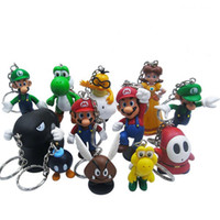 Wholesale High Quality PVC Super Mario keychain Bros Luigi Action Figures set youshi mario Gift for children