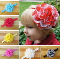 Headbands baby yarn sale - Children Hair Accessories Europe and America Hot Sale Baby Head Flower Headband Yarn Flower Tddler Girl Headwear Colour Random Send GX96