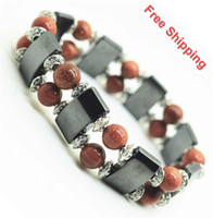 Wholesale Wholesales Double Line Magnetic Bracelet with MM goldstone round Beads hematite Magnetic Health Bracelet