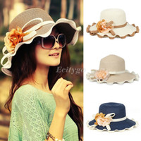 Wholesale 2014 Fashion New Women Ladies Wide Brim Summer Sun Beach Straw Fedora Derby Hat Cap fx239