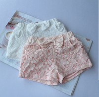 Wholesale Lovely Princess Children Baby Kids Girl Sweet Bowknot Bow Butterfly Lace Hollow Flower Pocket Elastic Hot Pants Pink White Shorts F0432
