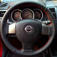 Wholesale Steering Wheel Cover For Old Nissan Tiida Livina Sylphy Note XuJi Car Special Hand stitched Black Genuine Leather Wheels Covers