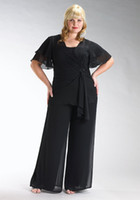 Wholesale 2014 New Chiffon Plus Size Short Sleeve Mother of the Bride Pants Suits with Jacket and Square Neckline Custom Made