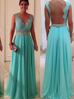 Reference Images V-Neck Chiffon 2014 Sexy Mint Green Lace A Line Chiffon Sheer Tulle Prom Dresses Cheap V Neck Evening Gowns Cocktail Dresses Celebrity Red Capet Dresses