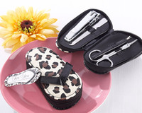 Wholesale high quality cheap leopard flip flop Mini Manicure Set girl party favor wedding gift