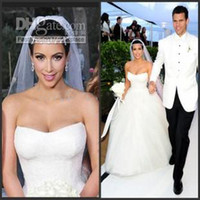 Ball Gown Reference Images Strapless Strapless Corset Kim-kardashian Bridal Dresses Appliques Tulle Fluffy 2013 Ball Gown Wedding Dresses