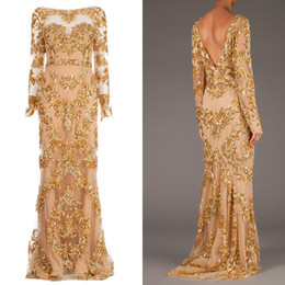 Wholesale Hot New Real Picture Zuhair Murad Long Sleeve Backless Long Prom Gowns Trailing Gold Appliques Illusion Dress Formal Evening Dresses