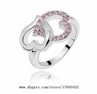 Wholesale jewelry Heart to Heart diamond crystal ring fashion jewelry full diamond love ring w071