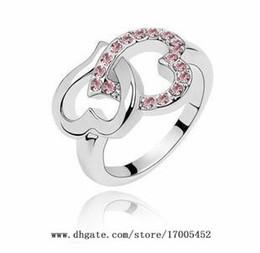 Wholesale jewelry Heart to Heart diamond crystal ring fashion jewelry full diamond love ring w071