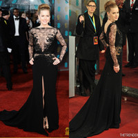 Wholesale 2014 Sexy Amy Adams in Bafta Awards Red Carpet Dresses Long Sleeve Black High Neck Elie Saab Sweep Train Evening Gowns Formal Dresses Prom