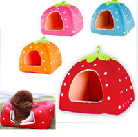 Wholesale Cute Strawberry Sponge Pet Cat Dog House Kennel Doggy Warm Cushion Basket Bed Mat inside