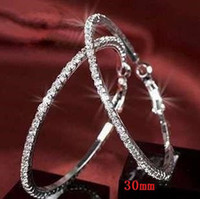 Silver basketball wives earrings for sale - Hot Sale Basketball Wives Hoop Earrings Silver Polish Row mm crystals party gifts for women CX0019