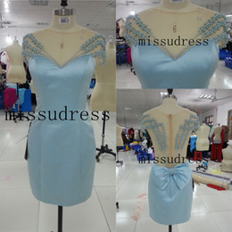 2014 New Real Image V-neck Beading Bow Knot Embellished Satin Cocktail Dress Free Shipping Custom Made Homecoming Dress Party Dress
