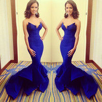 Sweetheart baking oranges - 2014 Exquisite Royal Blue Bare Bake Evening Dresses Gown Mermaid Satin Sweetheart Pleated Sweep Train Sexy Prom Gown Formal Dresses