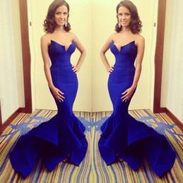 Wholesale 2014 Exquisite Royal Blue Bare Bake Evening Dresses Gown Mermaid Satin Sweetheart Pleated Sweep Train Sexy Prom Gown Formal Dresses