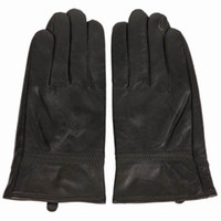 Wholesale Trendy Sheep Leather Men Winter Gloves Plush Black Man Five Fingers Gloves Fit Motor Cycling DYN