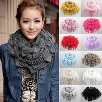 fringe scarf - 2014 New Arrive Fashion Women Winter Warm Knit Fringe Tassel Neck Wrap Circle Snood Scarf Shawl fx233
