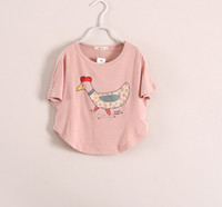 Wholesale Summer New Girl Clothes T Shirts Chick Batwing Sleeve The Chicken T shirt Pink White Loose Pattern Girls Shirts Children Clothing C1882
