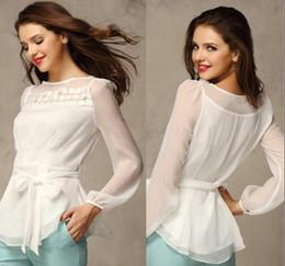 Wholesale 2014 EURO Style New Fashion Sexy Lace Chiffon Blouses White Pink Orange Champagne Color Lady Chiffon T Shirts S XXL ecc1153
