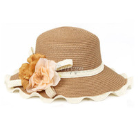 Wholesale 10pcs New Arrive Fashion Women Ladies Wide Brim Summer Sun Beach Straw Fedora Derby Hat Cap fx239