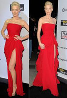 Reference Images amber springs - Custom Made Amber Heard Strapless Split Front Red Chiffon Evening Dresses Pleats Ruffles Floor Length Red Carpet Evening Prom Gowns