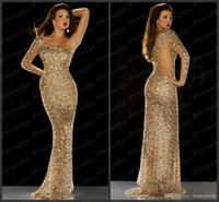 Wholesale 2014 Saudi Arabic Dubai Style One Shoulder Long Sleeve Mermaid Gold Sequins Rhinestones Beaded Gorgeous Prom Dresses Evening Pageant Gowns