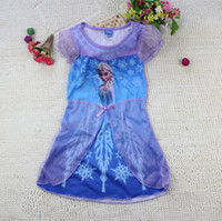 TuTu Summer A-Line Wholesale - 2014 children summer clothes girls girl Anna Elsa Frozen princess short sleeve dress summer dresses 60pcs L